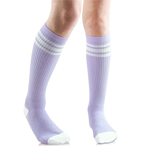 Baby, Toddler & Kids Knee High Tube Socks For Boys & Girls With Grips (6-10 Years (Size 1-4), Lavender/White)