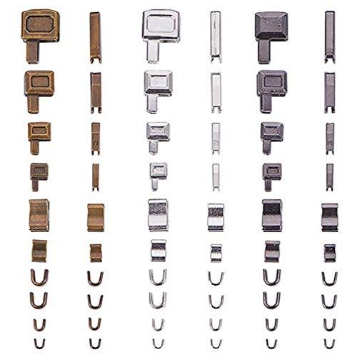 EXCEART 24 Sets Zipper Repair Set Metal Zipper Head Sliders Retainer Insertion Pin for DIY Zipper Repair Replacement (Size 3/5/ 8/10)