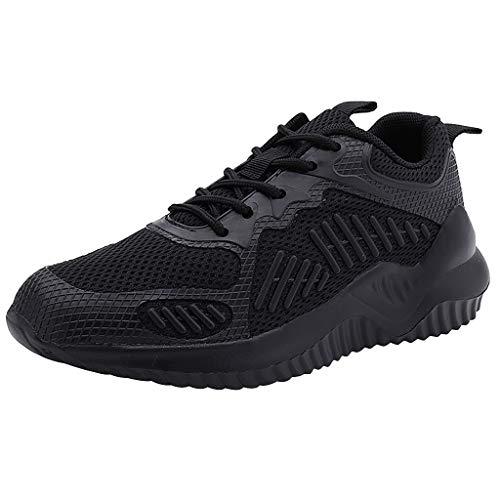 Scenxion Herren Damen Leichte Wanderschuhe Schnürschuhe Sneakers Mesh Go Running Turnschuhe Low Top Atmungsaktiv Sport Laufen für Unisex, Schwarz - Schwarz - Größe: 39 1/3 EU