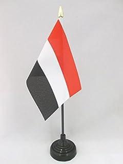 AZ FLAG Bandera de Mesa de Yemen 15x10cm - BANDERINA de DESPACHO YEMENÍ 10 x 15 cm Punta Dorada