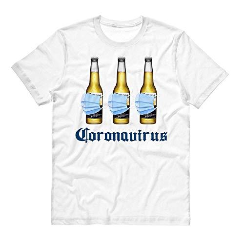 Beer Mask Virus Funny Beer Drinking Shirt Unisex Medium White