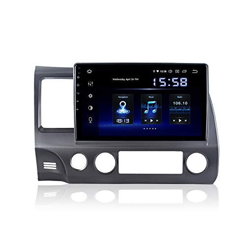 Dasaita 10 inch Screen Android 9.0 Car Stereo for Honda Civic 2006 to 2011 Radio Build in Carplay/Android Auto GPS Single Din Navigation 4G Ram 64G ROM DSP System 15Band EQ Multimedia