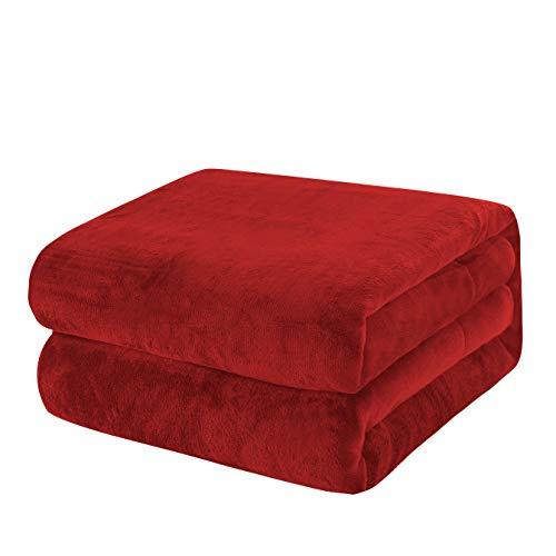 KEPLIN Flanell-Decke, Überwurf, große Tagesdecke (130 x 150 cm) – weich, flauschig, warm, Mikrofaser-Stoff-Design, Bettbezug, Teppich (rot, Einzelbett)