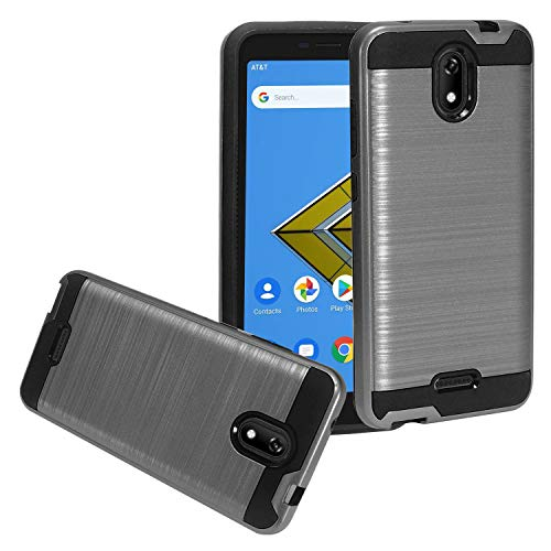 CELZEN - for Cricket Icon (1st Gen. 2019), Cricket Vision 2, Wiko Ride U300, AT&T Radiant Core U304A - Brushed Style Hybrid Phone Case - CS3 Gray