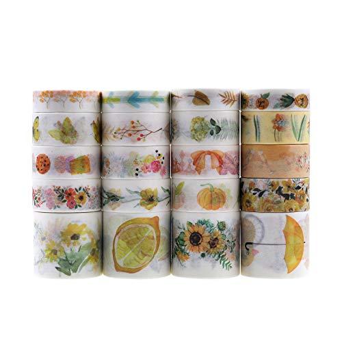 Lychii - Cinta adhesiva decorativa multipatrón para manualidades, diarios, planificadores diarios, envoltorios de regalos, suministros para fiestas de oficina (Set D)