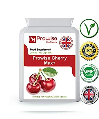 Prowise Cherry Max 750mg 90 Capsules - Gout Relief, Antioxidant, Healthy Heart & Sleep Patterns, Tart Cherry Capsules, Joint Pain Relief, Arthritis Treatment, Muscle Pain Relief, Antioxidant Vitamins, Montmorency Cherry from PROWISE HEALTHCARE