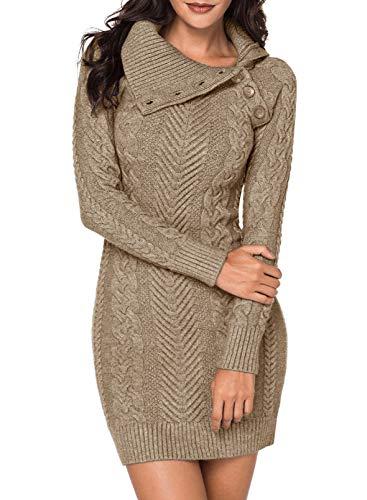 Itsmode Damen Pullover Kleid Warm Winterkleid Elegant Strickkleid Casual Langarm Warmkleid Einfarbig Rollkragen Jumper Minikleid Warme Wickelkleid