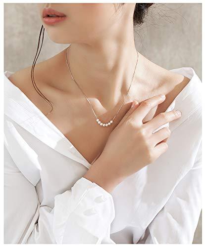 RXSHOUSH Collar de perlas para mujer, 4-6 mm, collar redondo de perlas de agua dulce, collar de clavícula de plata S925, caja de regalo de joyería para novias, blanco, 4,5