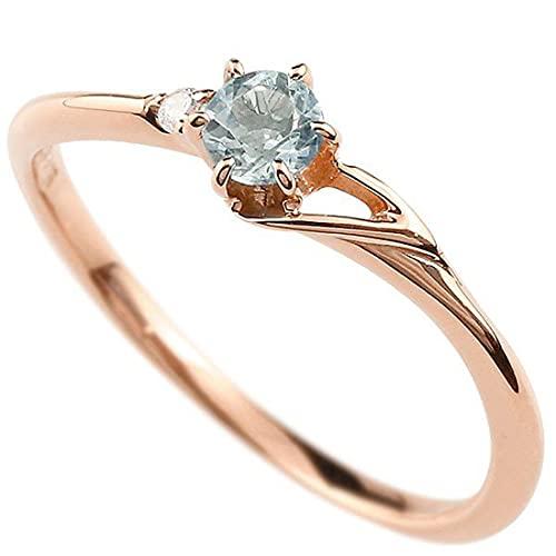 [アトラス]Atrus 指輪 レディース 18金 ピンクゴールドk18 アクアマリン ダイヤモンド イニシャル ネーム T ピンキーリング 華奢 アルファベット 3月誕生石 22号