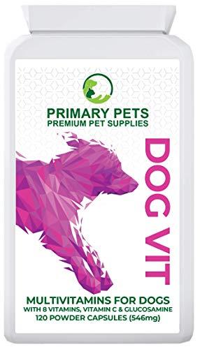 Primary Pets Premium Pet Supplies Suplemento Multivitamínico para Perros. 120 Cápsulas. Complejo de Vitamina B, Vitamina C. Omega 3 y glucosamina