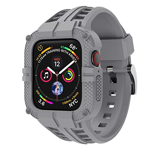 T-ENGINE Band Compatible with Apple Watch Band 40mm 38mm Series 6 Series 5/4/SE Series 3/2/1, TPU Rugged Band with Full Protection Case for Women/Men, Grey