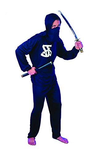 Paolo-bloemen Ninja kostuum volwassenen, zwart, maat 52-54, 62120