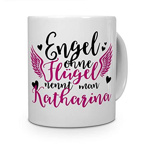 printplanet Tasse mit Namen Katharina - Motiv Engel - Namenstasse, Kaffeebecher, Mug, Becher, Kaffeetasse - Farbe Weiß