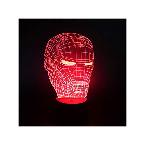 HOKVJ Control Remoto Táctil Iron Man 3D Luz Colorida Acrílica Visual Estéreo...