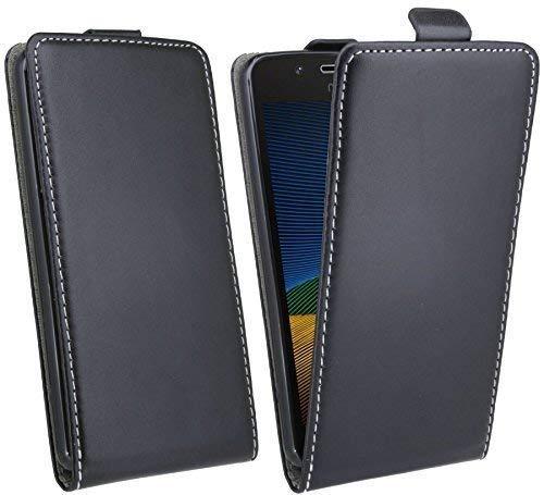 ENERGMiX Handytasche Flip Style kompatibel mit Lenovo Moto G5 in Schwarz Klapptasche Hülle