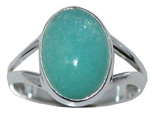 Argento sterling 925pietra preziosa naturale Amazzonite anello solitario in dimensioni da l 5½ a Y 12,, Argento, 54 (17.2), colore: Blue-Green, cod. R05G375AMZN540St