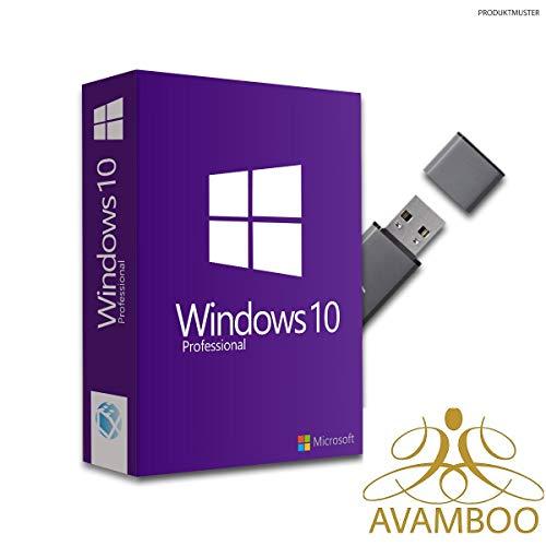 Windows 10 Professional Pro inkl. USB Stick 32&64 Bit Original Aktivierungsschlüssel, Produktschlüssel, Anleitung von Avamboo …