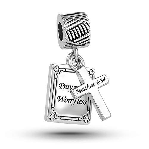 MiniJewelry Holy Bible Verse Dangle Charm for Bracelets fits Pandora Bracelets Pray More Worry Less Cross Engraved Matthew 6:34