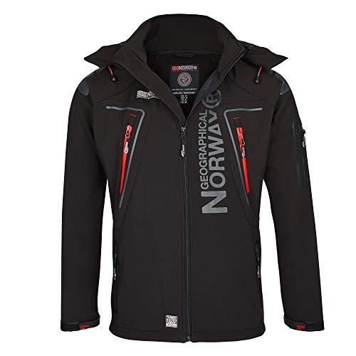 Geographical Norway Herren Softshell Funktions Outdoor Jacke wasserabweisend im Bundle mit urbandreamz Beanie (7XL, Schwarz TN)