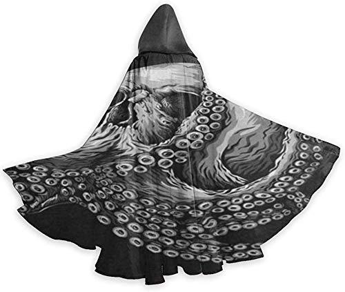 Disfraces de Halloween Capas con Capucha Capa de tnica Verano Girasol Palma Flor Tropical Disfraz de Cosplay Mujeres Hombres Poncho-Sugar Skull Octopus Black-OneSize