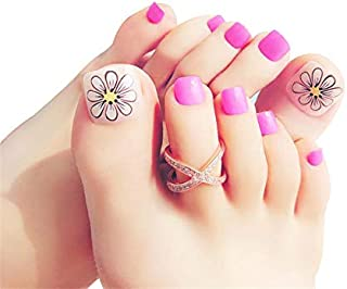 False Toe Nail Tips for Women Pedicure Press on Nails with Glue Full Cover Short Square Toenails kit 24 pcs/set Pink
