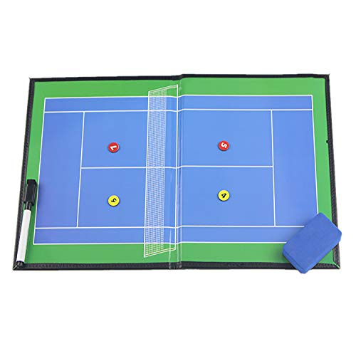 Boards Magnético de Entrenador de Tenis Carpeta Táctica Plegable Portátil, Pizarras de Tácticas para Entrenadores de Deportes, Negro, 42X27CM
