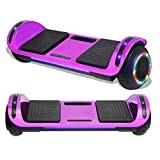 TPS Hoverboard Self Balancing Scooter with Speaker LED Lights Flashing Wheels for Kids and Adults Hover Board - UL2272 Safety Certified (Chrome Purple)