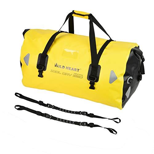 WILD HEART Bolsa impermeable de 40 l, 66 l, 100 l, con costuras soldadas, correa de hombro, cuerda de encuadernación para kayak, camping, barco, motocicleta... (100 l, amarillo con cuerda)