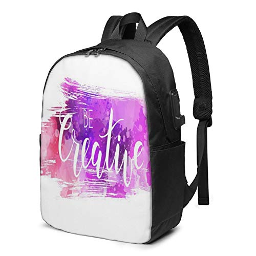 Laptop Backpack with USB Port Be Lettering, Business Travel Bag, College School Computer Rucksack Bag for Men Women 17 Inch Laptop Notebook
