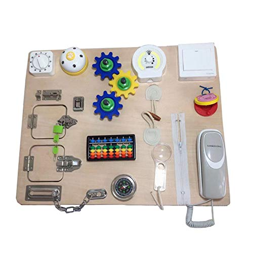 XIAOTIAN Montessori Busy Board -Busy Board Toys Apprenez À Habiller des Jouets - Jouet d'apprentissage pour Puzzle Déverrouillage Jouet À Glissière Lacet- pour 1 2 3 4 Ans Enfants