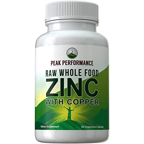 Raw Whole Food Zinc with Copper + 25 Organic Vegetables and Fruit Blend for Max Absorption. Immune Support Supplement Capsules. Two Essential Minerals for Immunity Support Vitamin Pills, Tablets
