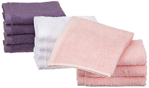 Amazon Basics - Toallas de algodón, 12 unidades, Rosa pétalo, Lavanda, Blanco