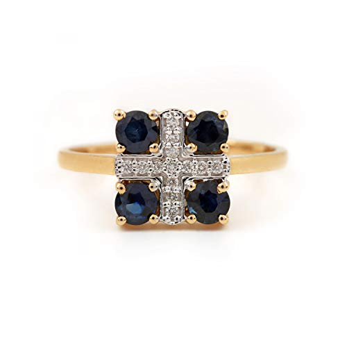 ASHNE JEWELS Natural 0.71ct Anillo de Piedras Preciosas de Zafiro Azul Certificado IGI 0.08ct Diamante Real (claridad I1-I2 y Color GH) Diseñador para Mujeres