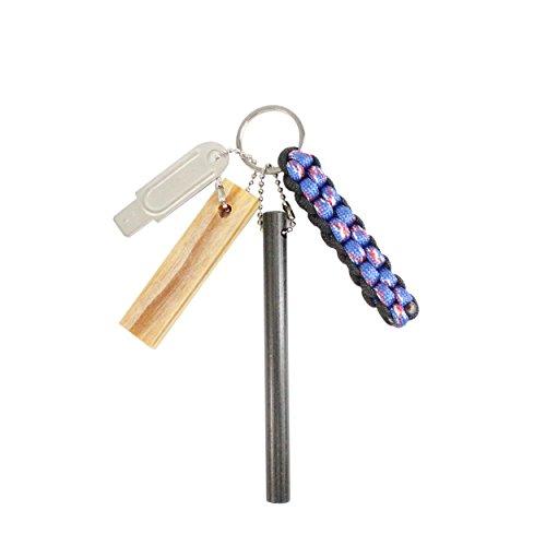 PSKOOK Fatwood 100% Natürliche Firestarter Sticks Magnesium Ferro Rod Paracord Lanyard Knoten Anhänger Notüberlebens Zubehör(Blau Camouflage)