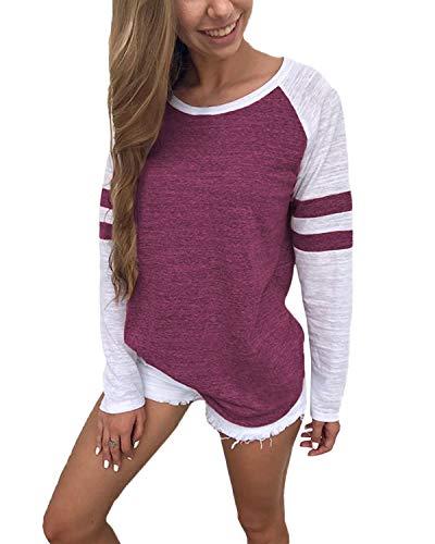 YOINS Pulli Damen Langarmshirt Sweatshirt mit Streifen Rundhals Ausschnitt Oversize Hemd, Streifen-rotwein-01, Gr.- M/ 40-42
