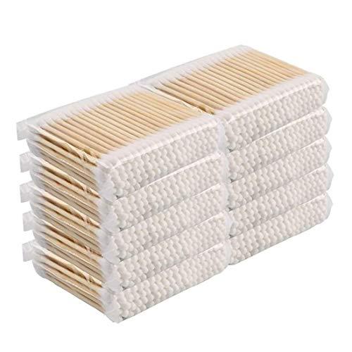 Jetable Coton Tige,10x100 Pièces Cotons-Tiges a Double Tête avec Poignées en Bois,pour le Nettoyage des Oreilles et Soin des Blessures et Maquillage,Biodégradable 7,5cm