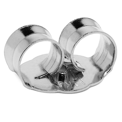 Single Earring Back Replacement |14K Solid White Gold | Threaded Push on-Screw off |Quality Die Struck | Post Size .032' | 1 Piece