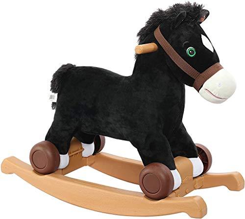 Rockin' Rider Cocoa 2-in-1 Pony Plush Ride-On, Black