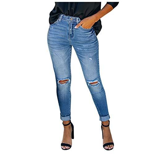 VEKDONE Women's Ripped Boyfriend Jeans Distressed Stretch Skinny Straight Leg Pants Funny Broken Hole Jeans Trousers