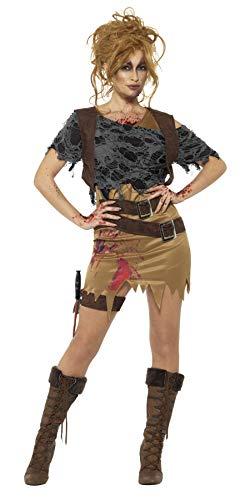 Smiffy's - Dames Deluxe Zombie jagerskostuum, jurk met geschilderd vest, bovenstuk, dolk en holster, bruin