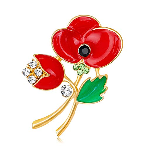 Bling Stars Red Poppy Brooch Flower Broach Lapel Pin Diamante Crystal Banquet Red Poppy Flower Remembrance Gift