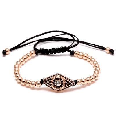 weichuang Pulsera de cuentas de acero inoxidable para hombre y mujer, con cuentas de ojo maligno de moda, para mujer, accesorio de joyería informal para mujer (color de metal: oro rosa).