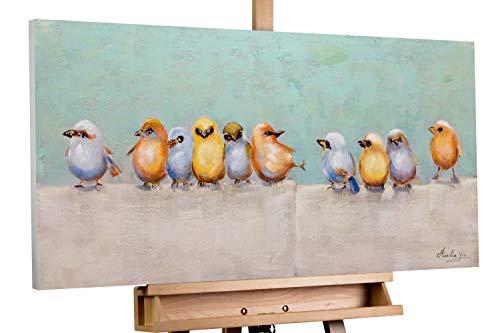 KunstLoft® Acryl Gemälde 'Lausbubenbande' 100x50cm | original handgemalte Leinwand Bilder XXL | Modern Vögel Grau Bunt | Wandbild Acrylbild Moderne Kunst einteilig mit Rahmen