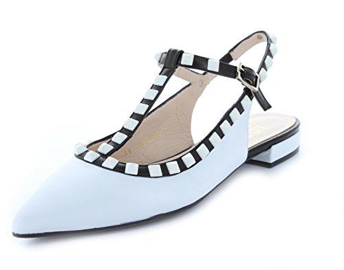 Lodi Damen Sling-Ballerina spitz T-Spange weiß-schwarz Leder EU 38