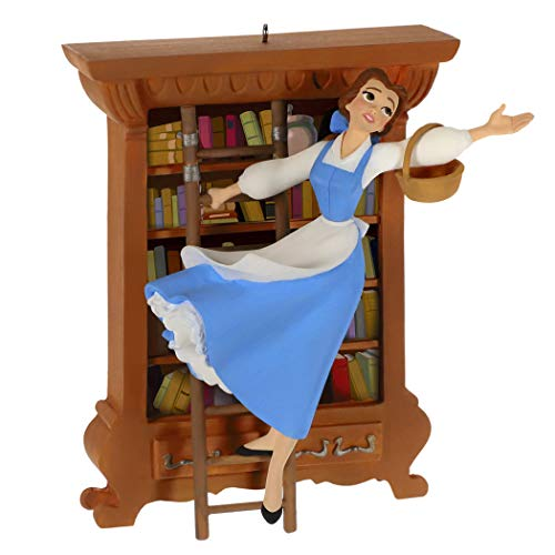 Hallmark Keepsake Christmas Ornament 2019 Year Dated Disney Beauty and The Beast Bonjour Belle with Books
