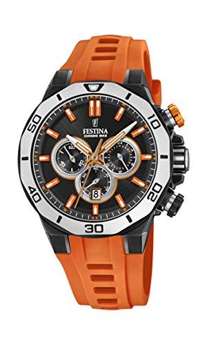 Festina Unisex Erwachsene Chronograph Quarz Uhr mit Silikon Armband F20450/2