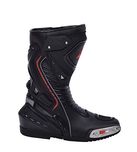 Bohmberg Herren Motorradstiefel, Sportstiefel aus Leder, Motorradschuhe aus stabilem Leder mit aufgesetzten Hartschalenprotektoren,Schwarz Gr.42