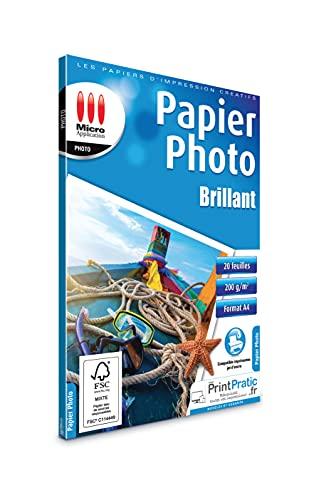 Papier Photo - Papier photo A4 - Feuille A4 - Papier imprimante - Tirage photo - Papier impression photo - Eco Pack Feuilles Papier Photo Brillant A4 - 200 g/m² Papier Certifié FSC - 20 Feuilles