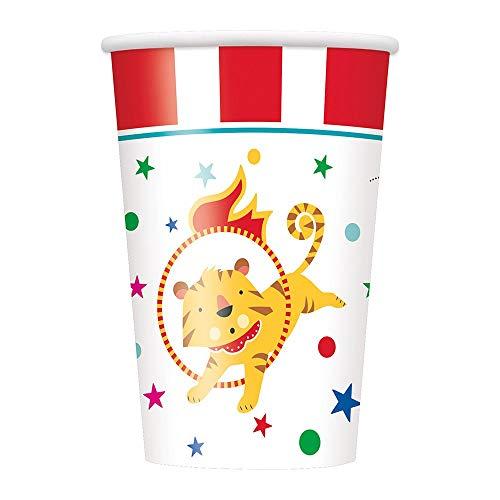 Unique Party 72476 Becher, Karneval, Zirkus, Party, Geburtstag , 8 Stück