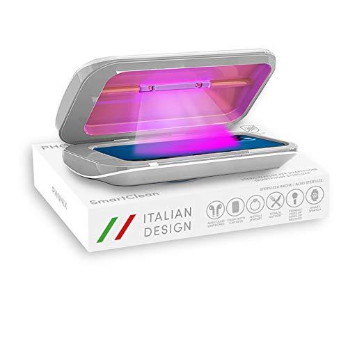 Phonix Esterilizador UV profesional para smartphone y máscaras, desinfectante UV portátil para teléfono móvil y objetos, doble lámpara UV LED germicida | Empresa italiana